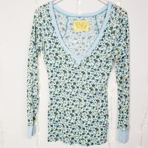 Free People | Floral Waffle Knit Thermal Top Sz M